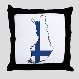 Flag Map of Finland Throw Pillow