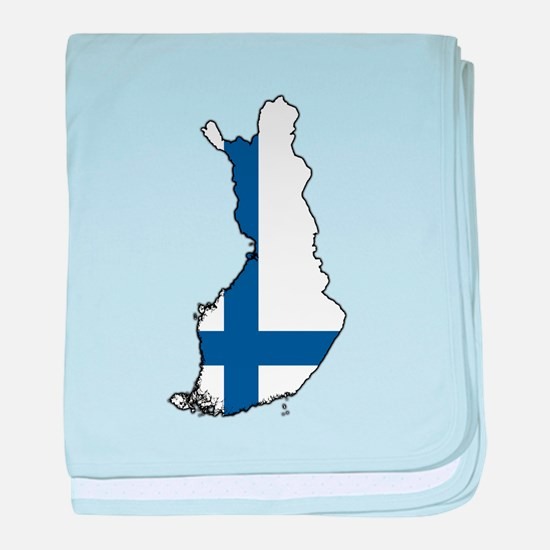 Flag Map of Finland baby blanket