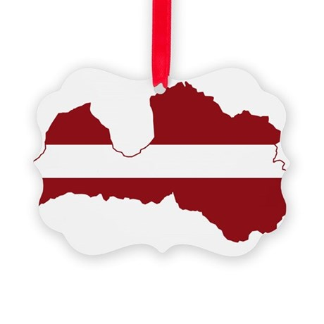 Latvia Flag and Map Picture Ornament