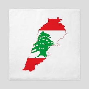 Lebanon Flag and Map Queen Duvet