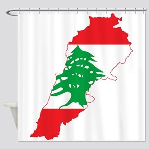 Lebanon Flag and Map Shower Curtain