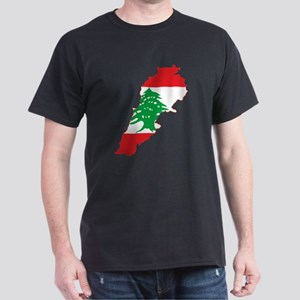 Lebanon Flag and Map Dark T-Shirt