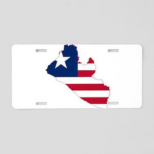 Liberia Flag and Map Aluminum License Plate