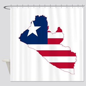 Liberia Flag and Map Shower Curtain