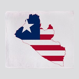 Liberia Flag and Map Throw Blanket