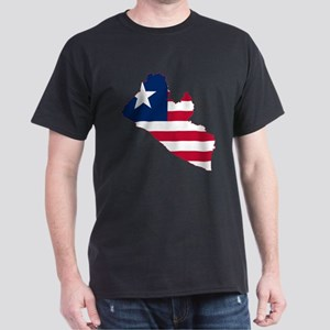 Liberia Flag and Map Dark T-Shirt