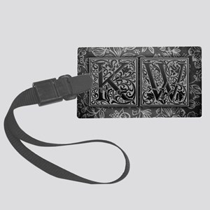 KW initials. Vintage, Floral Large Luggage Tag