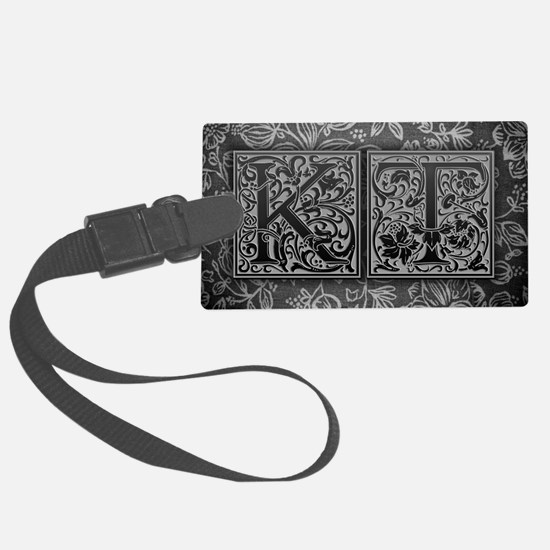 KT initials. Vintage, Floral Luggage Tag