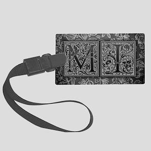 MI initials. Vintage, Floral Large Luggage Tag