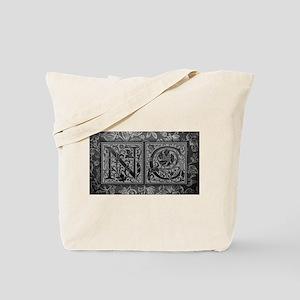NC initials. Vintage, Floral Tote Bag