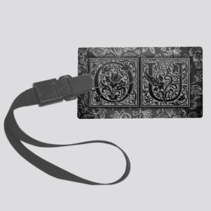 OU initials. Vintage, Floral Large Luggage Tag