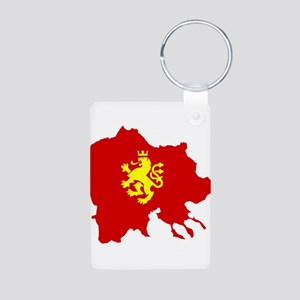 Macedonia Lion Flag and Map Aluminum Photo Keychai