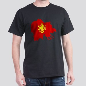Macedonia Lion Flag and Map Dark T-Shirt