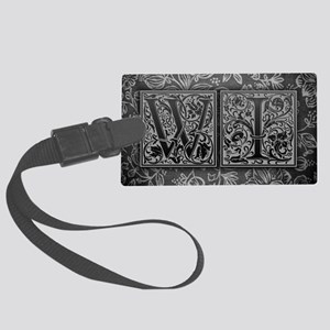 WI initials. Vintage, Floral Large Luggage Tag