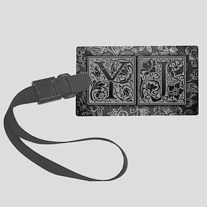 YJ initials. Vintage, Floral Large Luggage Tag