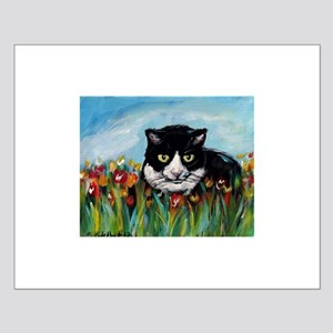 Tuxedo cat tulips Small Poster