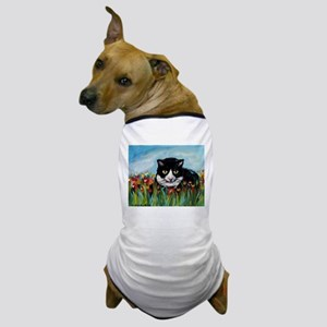 Tuxedo cat tulips Dog T-Shirt