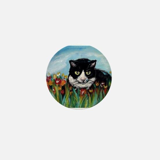 Tuxedo cat tulips Mini Button