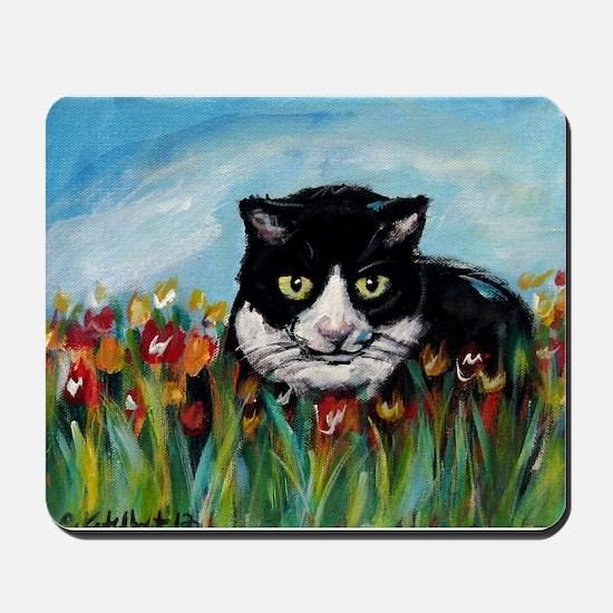 Tuxedo cat tulips Mousepad