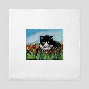 Tuxedo cat tulips Queen Duvet
