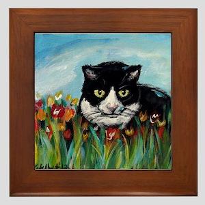 Tuxedo cat tulips Framed Tile