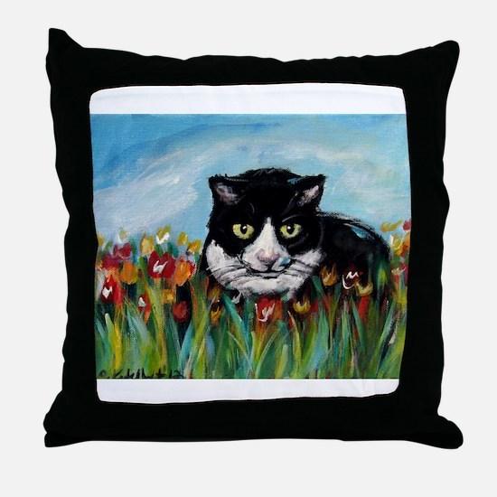 Tuxedo cat tulips Throw Pillow