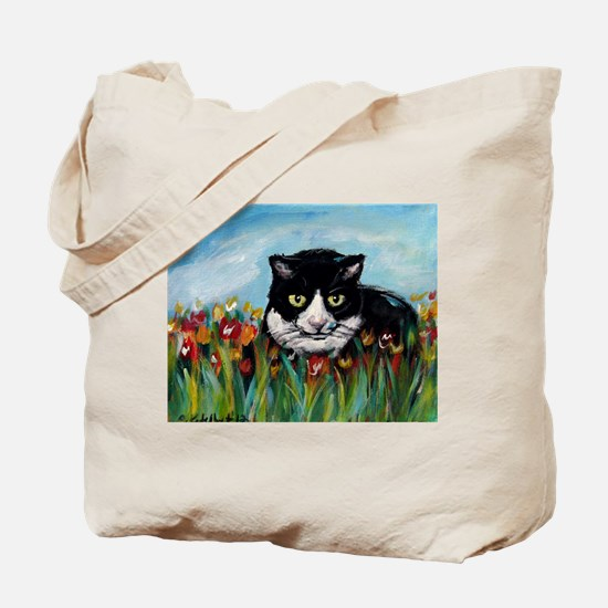 Tuxedo cat tulips Tote Bag
