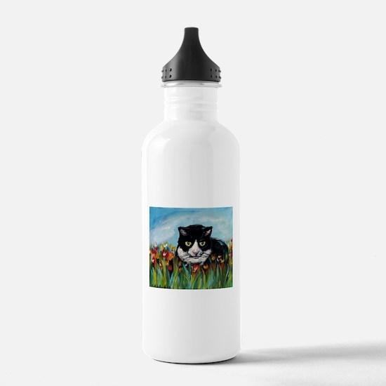 Tuxedo cat tulips Water Bottle