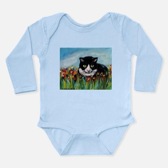 Tuxedo cat tulips Long Sleeve Infant Bodysuit