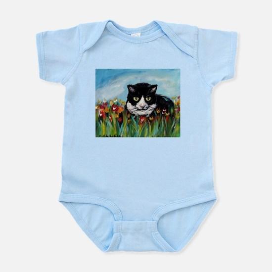 Tuxedo cat tulips Infant Bodysuit