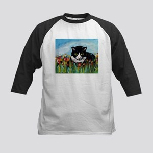 Tuxedo cat tulips Kids Baseball Jersey