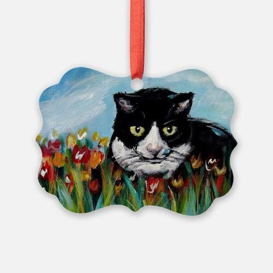 Tuxedo cat tulips Ornament