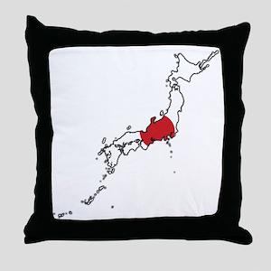 Flag Map of Japan Throw Pillow