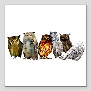 "Owl Line Square Car Magnet 3"" x 3"""