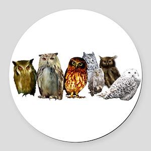 Owl Line Round Car Magnet