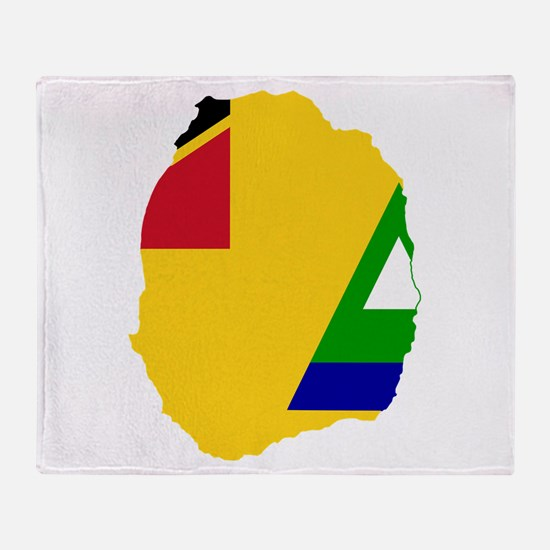 Nevis Flag and Map Throw Blanket
