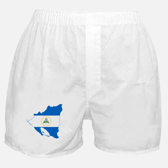 Nicaragua Flag and Map Boxer Shorts