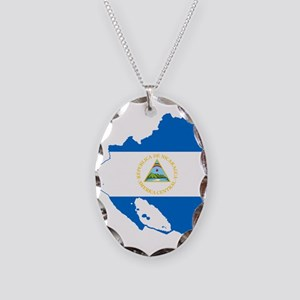Nicaragua Flag and Map Necklace Oval Charm