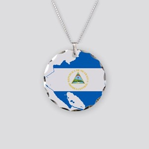 Nicaragua Flag and Map Necklace Circle Charm