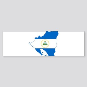 Nicaragua Flag and Map Sticker (Bumper)