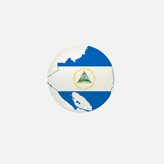 Nicaragua Flag and Map Mini Button