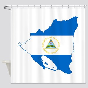 Nicaragua Flag and Map Shower Curtain