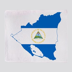 Nicaragua Flag and Map Throw Blanket