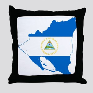 Nicaragua Flag and Map Throw Pillow