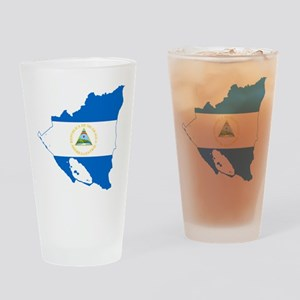 Nicaragua Flag and Map Drinking Glass