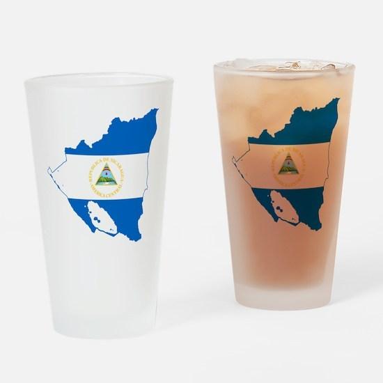 Nicaragua Flag and Map Drinking Glass