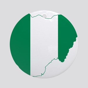 Nigeria Flag and Map Ornament (Round)
