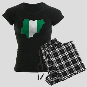 Nigeria Flag and Map Women's Dark Pajamas