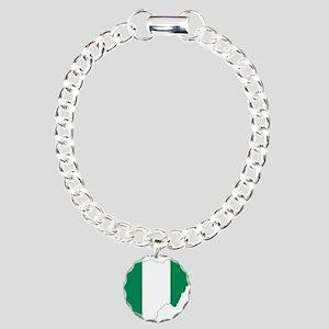 Nigeria Flag and Map Charm Bracelet, One Charm