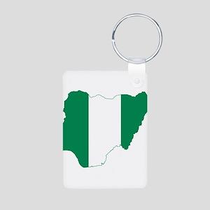Nigeria Flag and Map Aluminum Photo Keychain